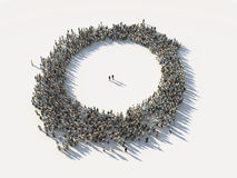Crowd of people as a circle Stock Photo