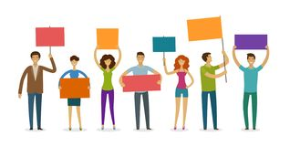 Crowd of people with banner and poster walking on manifestation. Demonstration, rights, parade vector illustration stock illustration