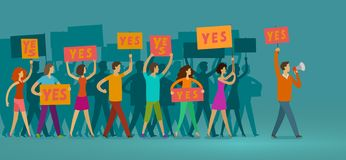 Crowd of people with banners walking on public manifestation. Demonstration, rights, parade vector illustration royalty free illustration
