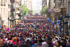 Crowd of people in Barcelona Stock Image
