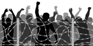 Crowd people behind barbed wire, vector silhouette. royalty free stock images