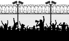 Crowd of people behind bars demanding to open the border. Migrants and refugees are standing behind closed and shut barrier, fence made of barbed wire. Vector vector illustration
