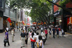 A crowd of people on the Beijing Lu shopping street in Guangzhou Stock Photography