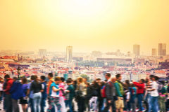 Crowd of people in big city. Blurred abstract motion picture Royalty Free Stock Photos