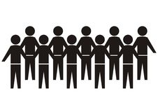 Crowd of people. Black vector silhouette stock illustration
