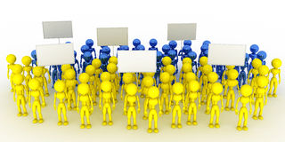 A crowd of people with blank poster #2. A crowd of people with blank poster on a white background #2 Stock Photos