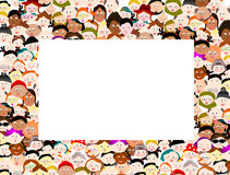 Crowd people border frame. Big group crowd people border frame Royalty Free Stock Images