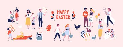 Crowd of people carrying large decorated easter eggs, cakes, baskets, flowers and pussy willow branches, playing. Children dressed in rabbit costumes. Flat Stock Photos