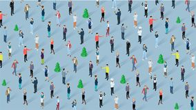 People celebrating Christmas. Crowd of people celebrating Christmas and New Year party. Isometric men and women diverse styles, characters, professions and poses Royalty Free Stock Image