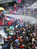 Crowd of people celebrating the traditional Songkran New Year Festival Stock Image