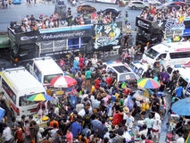 Crowd of people celebrating the traditional Songkran New Year Festival Royalty Free Stock Photo