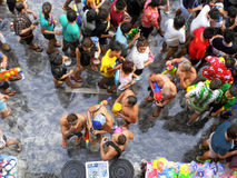Crowd of people celebrating the traditional Songkran New Year Festival Stock Photo
