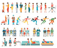 Crowd of people characters cartoon. Stock Photo