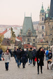 Crowd of people on Charles Bridge in Prague Royalty Free Stock Images