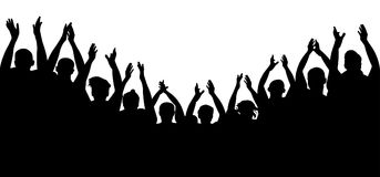 Crowd people cheering, cheer hands up. Applause audience. royalty free illustration