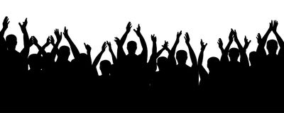 Crowd people cheering, cheer hands up. Applause audience. Cheerful mob fans applauding, clapping. Vector silhouette concert vector illustration