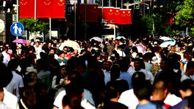 Crowd people in china, 4k video stock footage