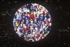 Crowd of people in circle over stars background Royalty Free Stock Photography