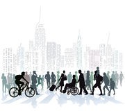 Crowd of people in city skyline Royalty Free Stock Images