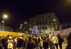 Crowd of people in Colosseo street in Rome Royalty Free Stock Image