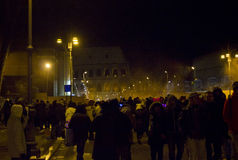 Crowd of people in Colosseo street Royalty Free Stock Photo