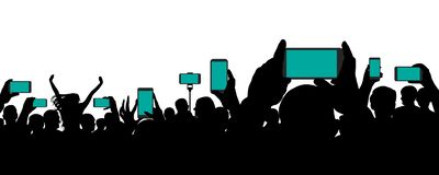 Crowd of people at a concert, keep smartphone, event. Cheerful audience. Hands holding a mobile phone. Silhouette vector on white background stock illustration