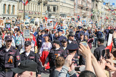 A crowd of people in the convoy. Royalty Free Stock Images