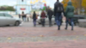 Crowd of people crossing the street. Blured video. Crowd of people crossing the street stock video