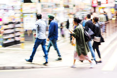Crowd of people crossing a street in Hongkong Royalty Free Stock Photography