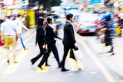 Crowd of people crossing a street in Hongkong Royalty Free Stock Photo