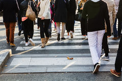 Crowd of people crossing a street Royalty Free Stock Image