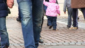 Crowd of people crossing the street. stock footage