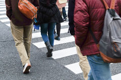 Crowd of people crossing at Ueno Hirokoji intersection Stock Image