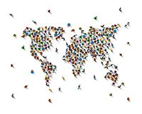 Crowd of people. Crowd of people in the form of world map on white background . Vector illustration royalty free illustration