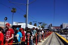 Crowd of people de-board VTA transit train to attend Wrestlemani Royalty Free Stock Photo