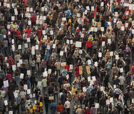 Crowd of people demonstrate. A huge crowd of people on the streets Royalty Free Stock Image