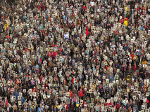 Crowd of people demonstrate stock images