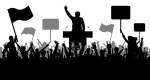 Crowd of people demonstrating silhouette. Oratory art, politics, revolution, takeover Royalty Free Stock Images