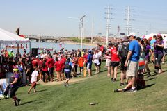 Crowd of People at Dragon Boat Festival Stock Image