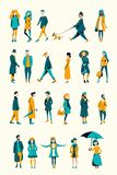 A crowd of people dressed in autumn clothes royalty free illustration