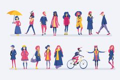 Autumn people. set vector illustration