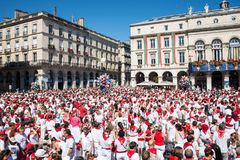 Crowd of people dressed in white and red at the Summer festival of Bayonne Stock Photography