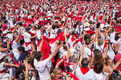 Crowd of people dressed in white and red at the Summer festival of Bayonne Royalty Free Stock Photo
