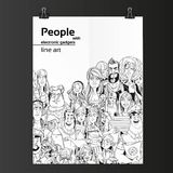 Crowd of people with electronic gadgets line art on white paper Royalty Free Stock Photography