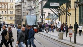 Crowd of people entering from the Czech tram in Old City of the Czech Republic, Prague stock video