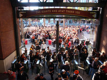 Crowd of People entering AT&T Park Stock Photos