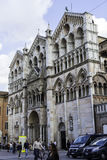 Crowd of people  and Facade of the Cathedral of Ferrara Royalty Free Stock Photos