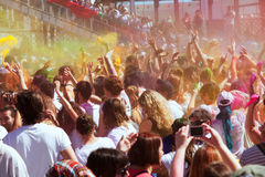 Crowd of people at  Festival of colors Holi Barcelona Stock Photography