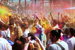 Crowd of people at Festival Holi Barcelona Stock Photo