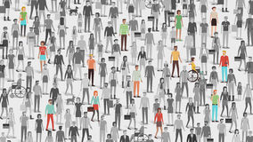 Crowd of people with few individuals highlighted Royalty Free Stock Photos